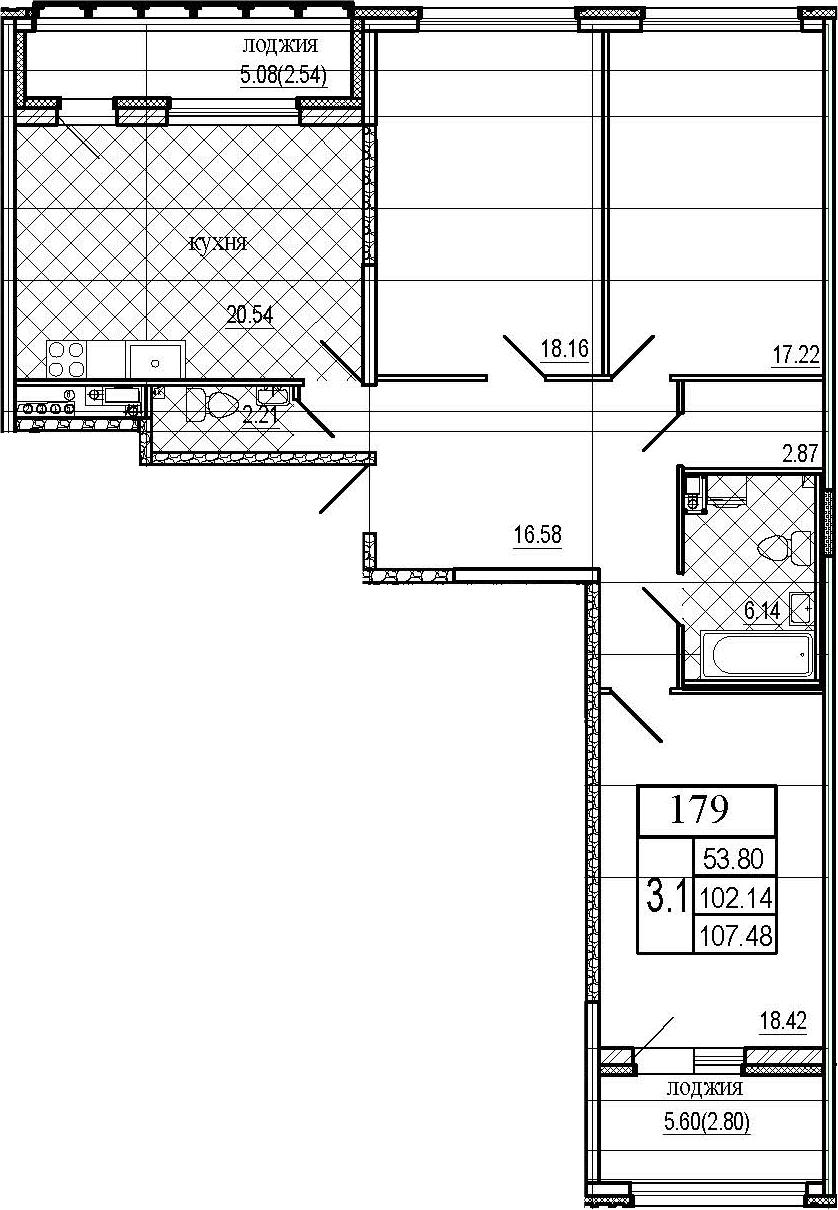 4Е-к.кв, 107.48 м², 6 этаж