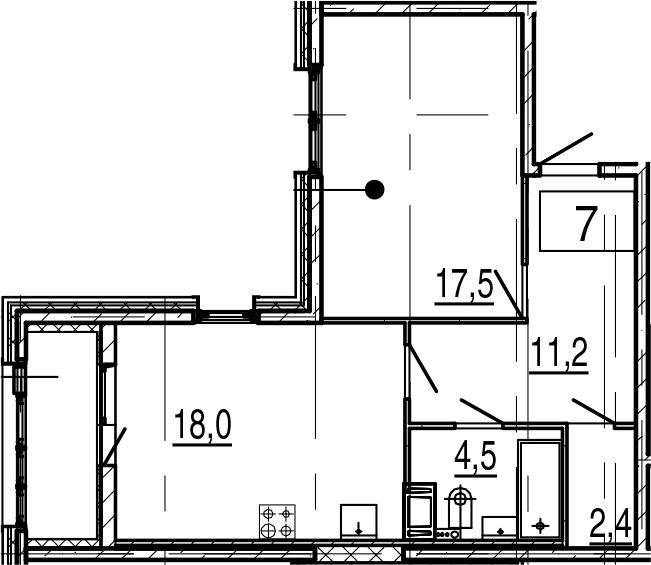 2Е-комнатная, 55.7 м²– 2