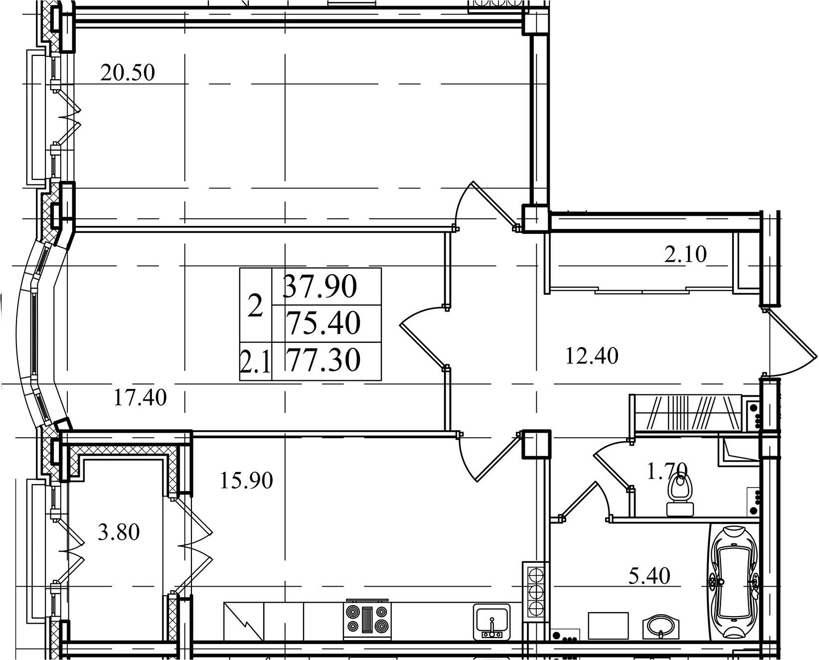 2-комнатная, 75.4 м²– 2