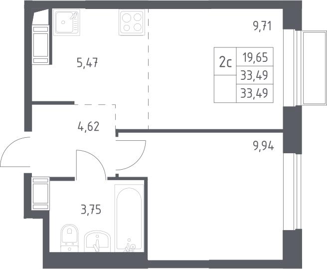 2Е-комнатная, 33.49 м²– 2