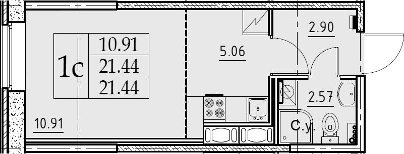 Студия, 21.44 м²