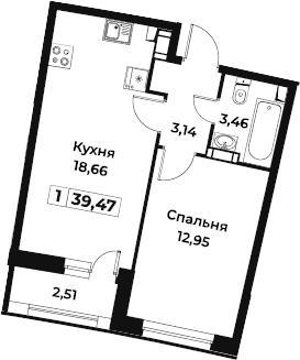 2Е-к.кв, 39.47 м², 2 этаж