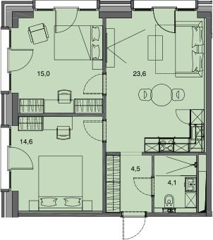3-к.кв (евро), 61.8 м²