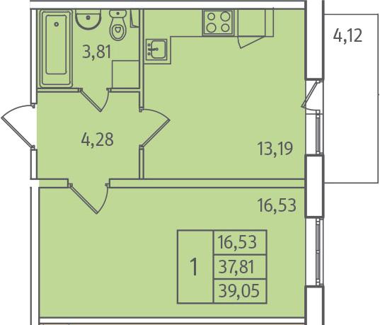 1-комнатная, 39.05 м²– 2
