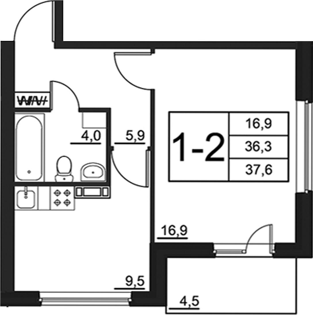 1-к.кв, 40.75 м²