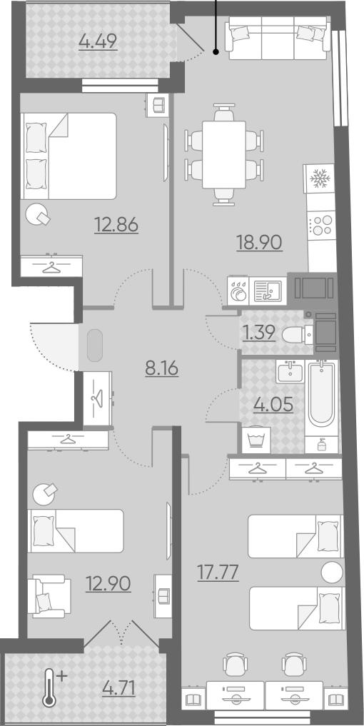 4-к.кв (евро), 85.25 м²