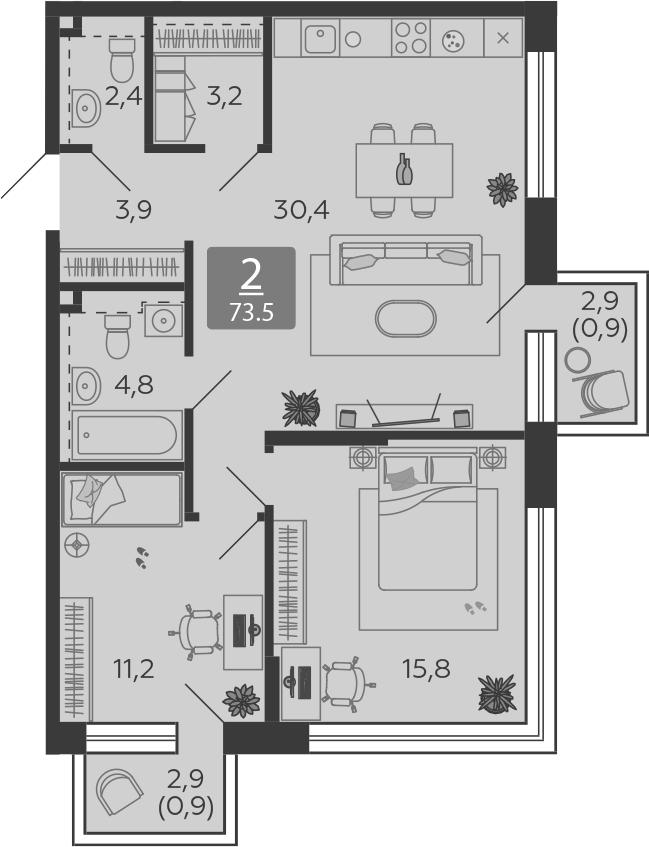 3Е-комнатная, 73.5 м²– 2