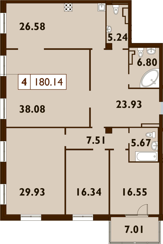 5Е-к.кв, 180.14 м²