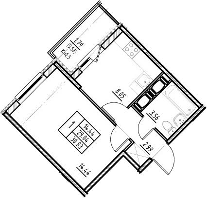 1-к.кв, 29.04 м²