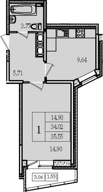 1-к.кв, 35.55 м², 13 этаж