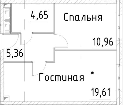 2Е-комнатная, 40.57 м²– 2