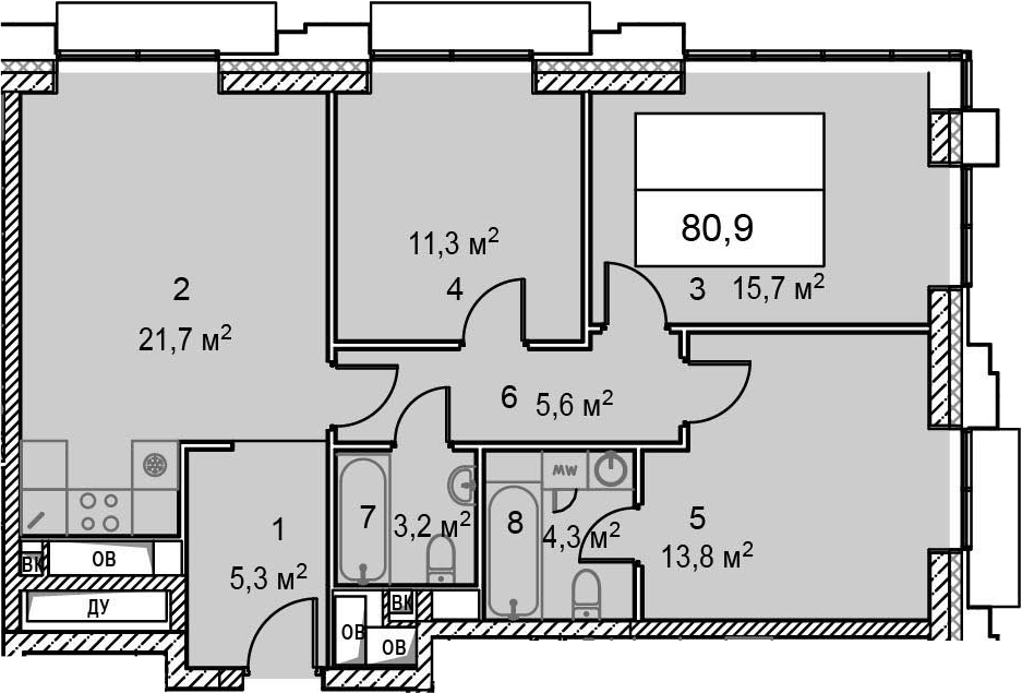 4Е-комнатная, 80.9 м²– 2