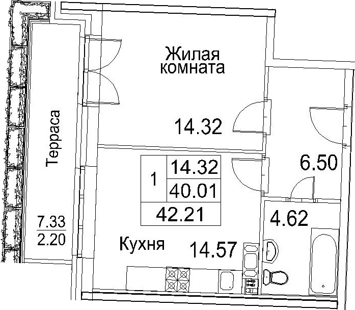 1-к.кв, 42.21 м²