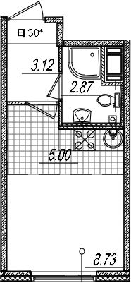 Студия, 19.72 м², 12 этаж