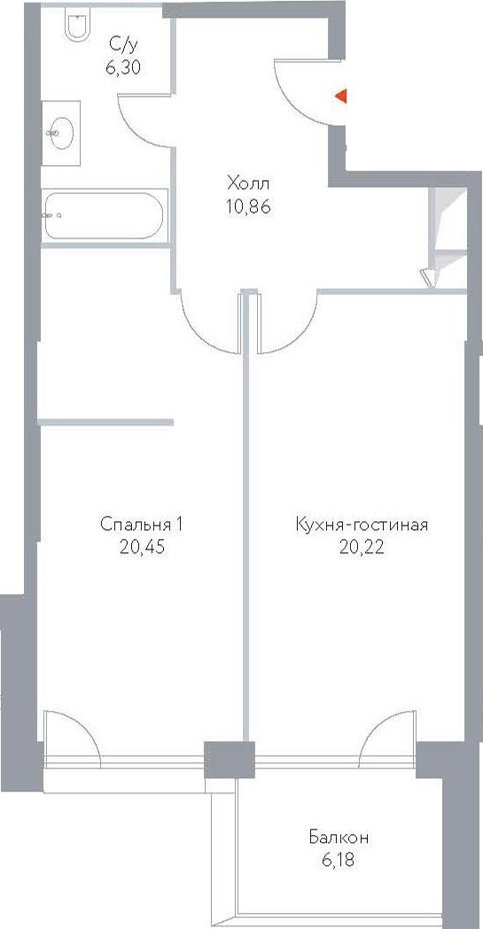 2Е-к.кв, 64.01 м², 7 этаж