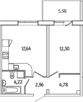 2Е-к.кв, 43.89 м²