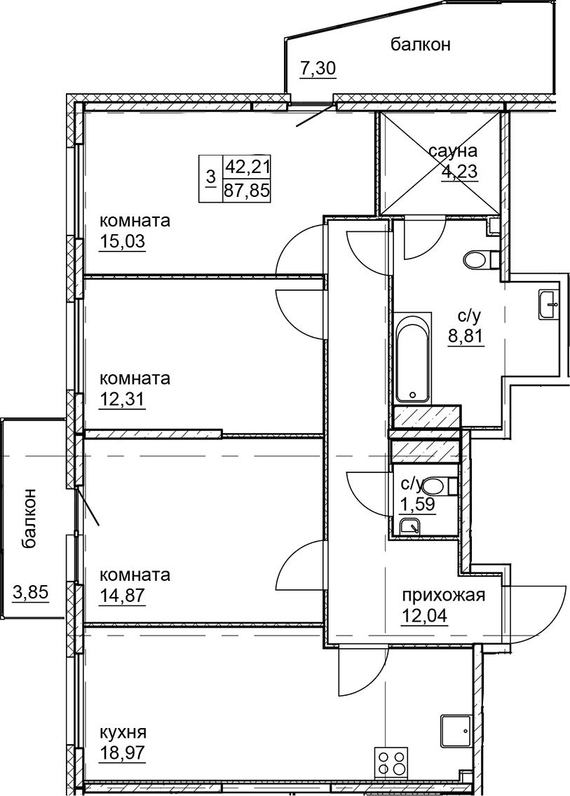 4Е-к.кв, 87.85 м²