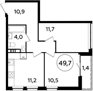 2-к.кв, 49.7 м²