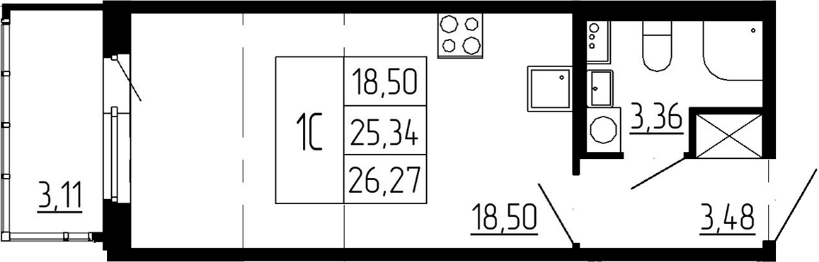 Студия, 25.34 м²