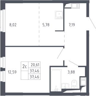 2Е-комнатная, 37.46 м²– 2