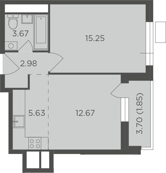 2Е-комнатная, 42.05 м²– 2