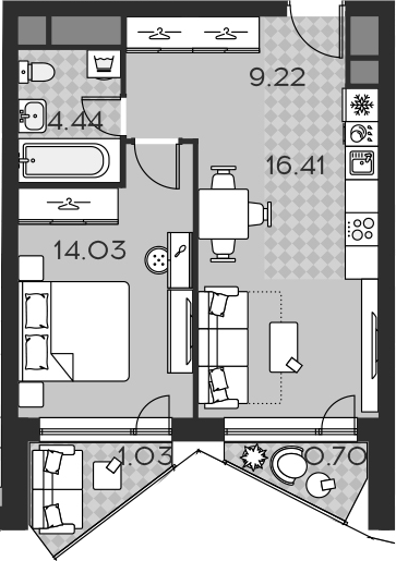 2Е-комнатная, 45.83 м²– 2