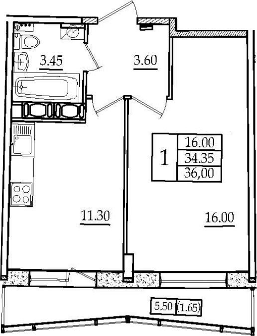 1-к.кв, 36 м², 13 этаж