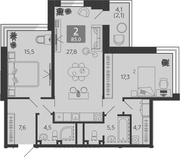 3Е-комнатная, 85 м²– 2