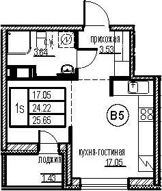 Студия, 25.65 м²– 2