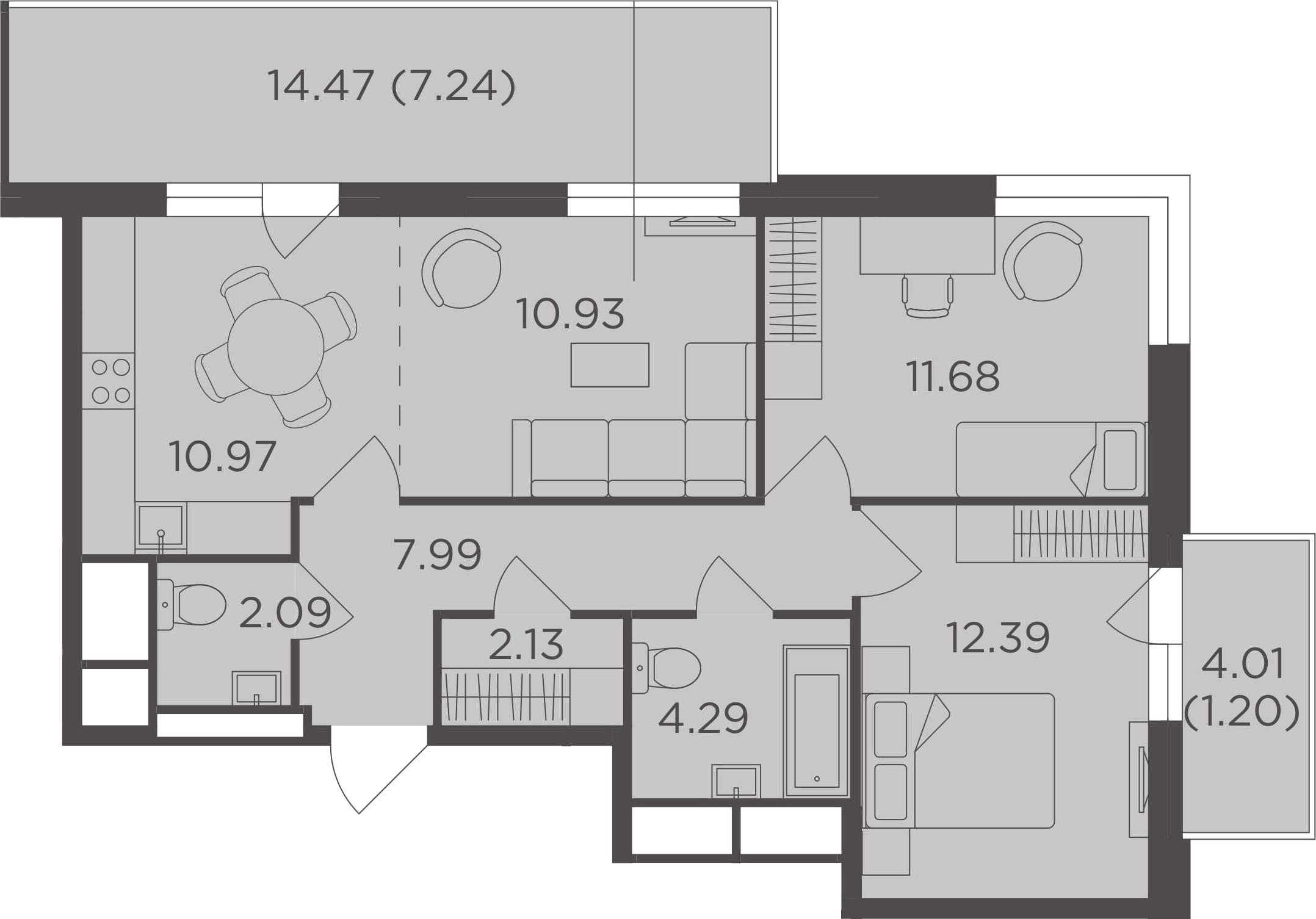 3Е-комнатная, 70.91 м²– 2