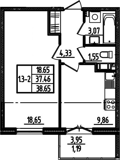 1-к.кв, 39.84 м²