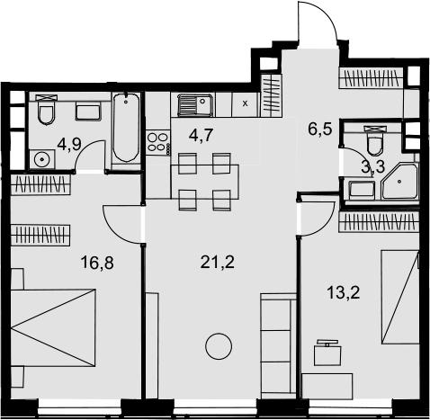 3Е-комнатная, 70.6 м²– 2