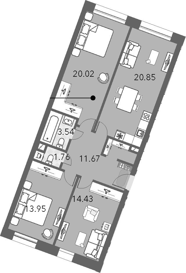 4Е-к.кв, 86.22 м²