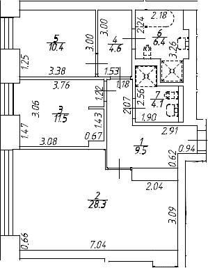 3Е-комнатная, 74.8 м²– 2