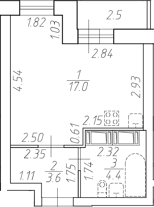 Студия, 27.5 м²