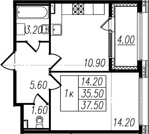 1-к.кв, 35.5 м², 1 этаж