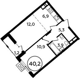 2-к.кв (евро), 41.4 м²