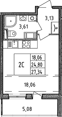 Студия, 24.8 м², 6 этаж – Планировка