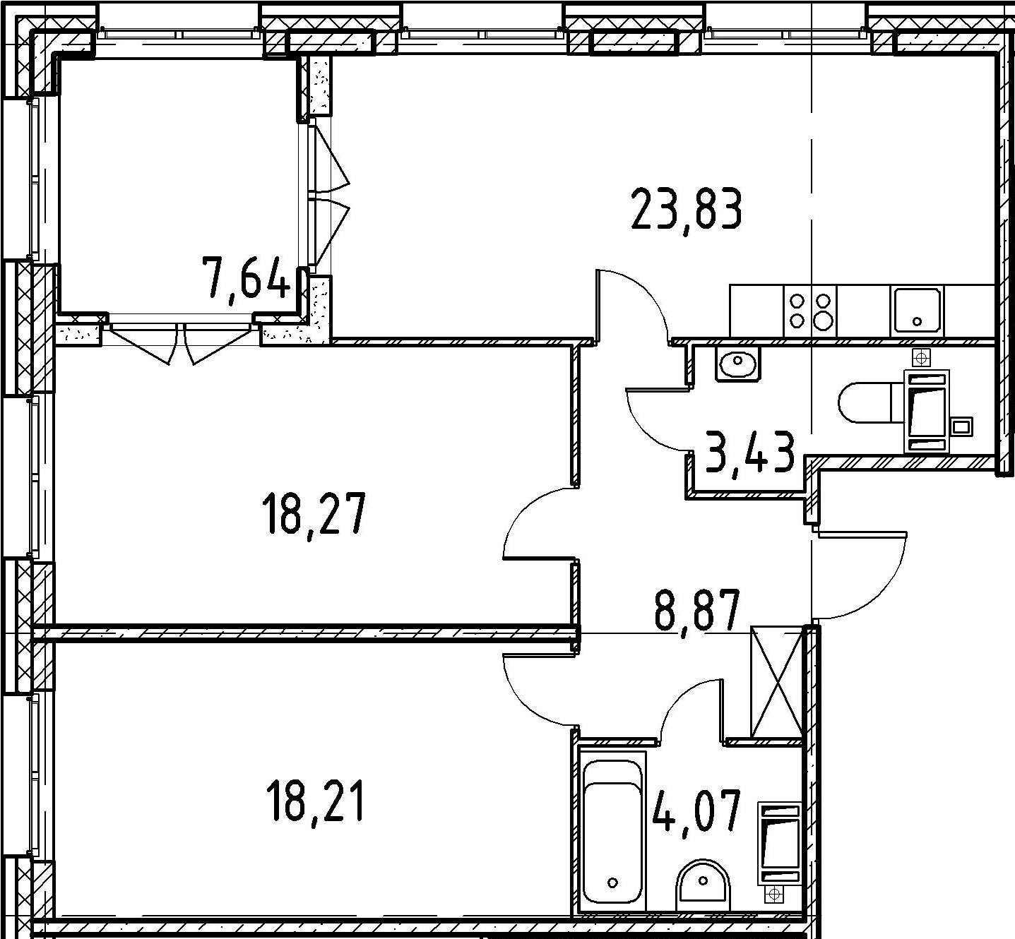 2-комнатная, 76.68 м²– 2