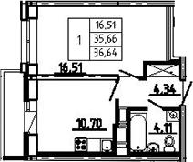 1-комнатная, 36.64 м²– 2