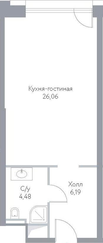 Студия, 36.73 м²– 2