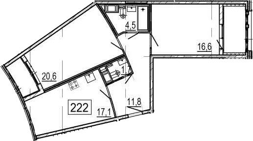 3Е-к.кв, 76.3 м², 9 этаж