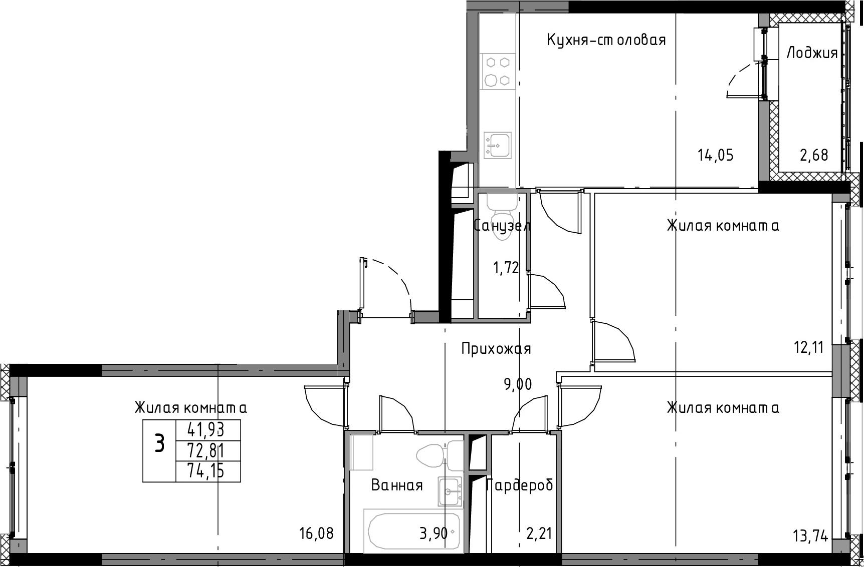 3-к.кв, 74.15 м²