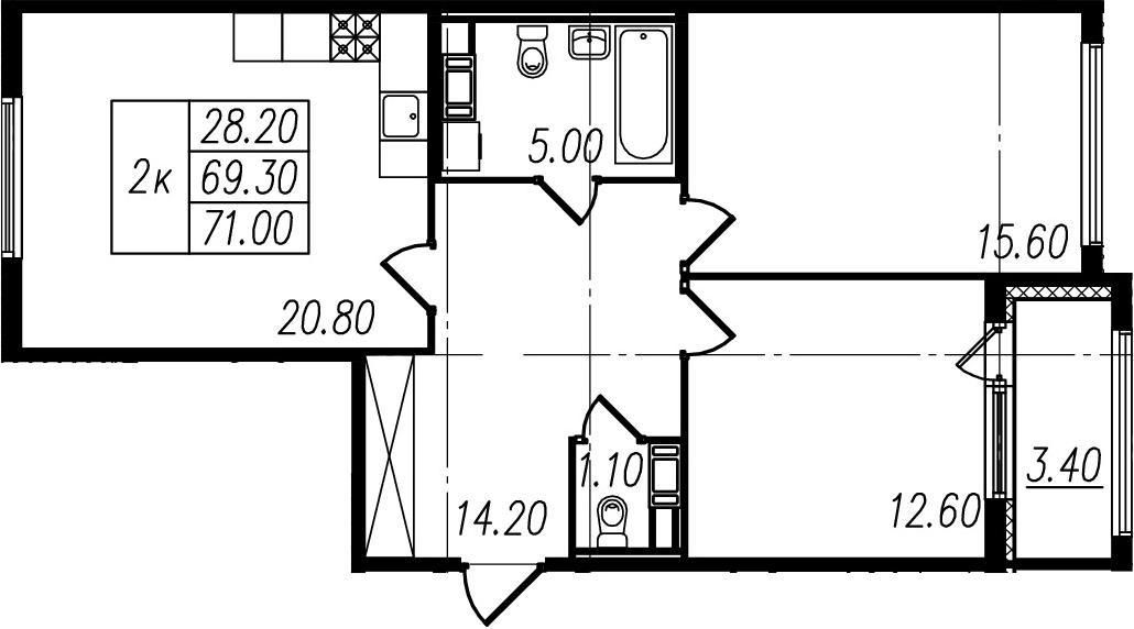 3Е-комнатная, 69.3 м²– 2