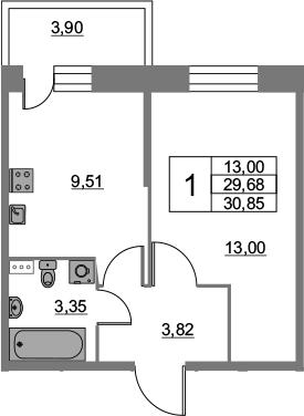 1-к.кв, 30.85 м², 2 этаж