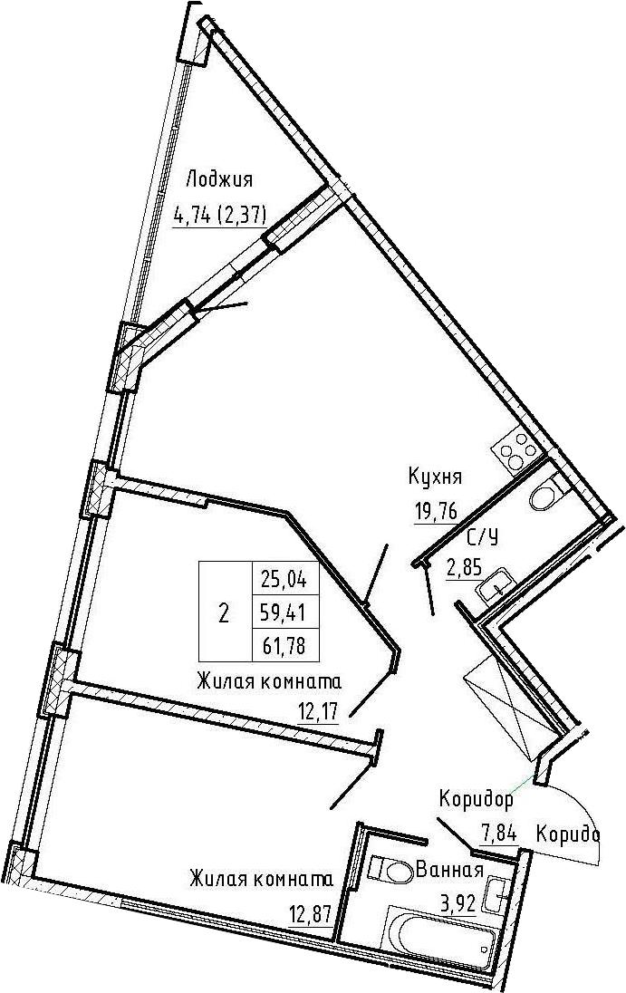 3Е-к.кв, 61.78 м², 2 этаж