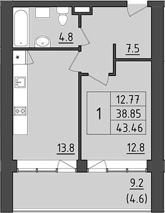 1-к.кв, 48.05 м²