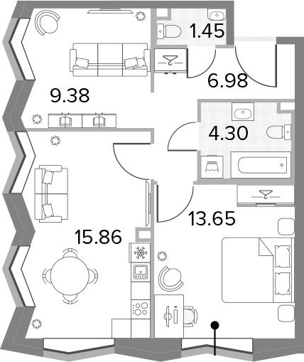 3-к.кв (евро), 51.62 м²
