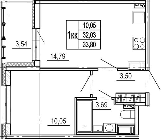 1-к.кв, 32.03 м²