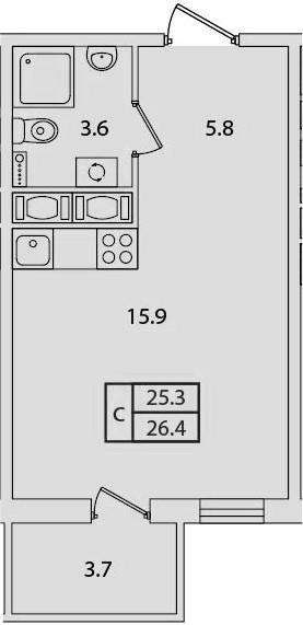 Студия, 26.4 м²